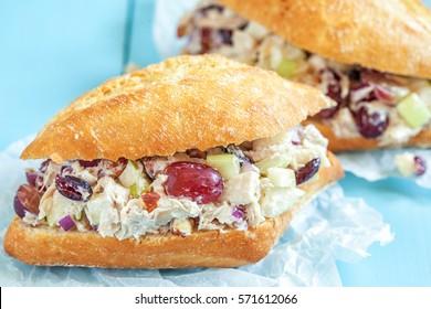 Chicken Salad Sandwich with Apple, Grape, Celery, Almond and Dried Cranberry Greek Yogurt