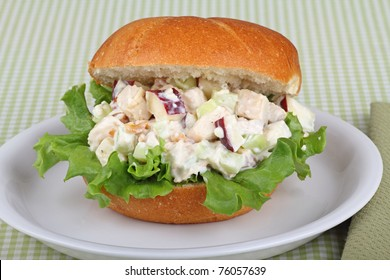 Chicken salad sandwich with apple pieces on top of lettuce on a bun