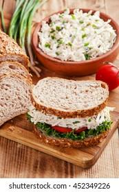 chicken salad sandwich tomato salad