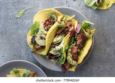 Chicken Salad Spicy Tacos wth Avocado and Chilli