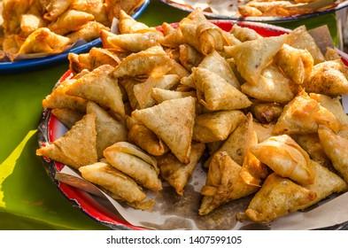 Chicken samosas selling in the Ramadan bazaar.
