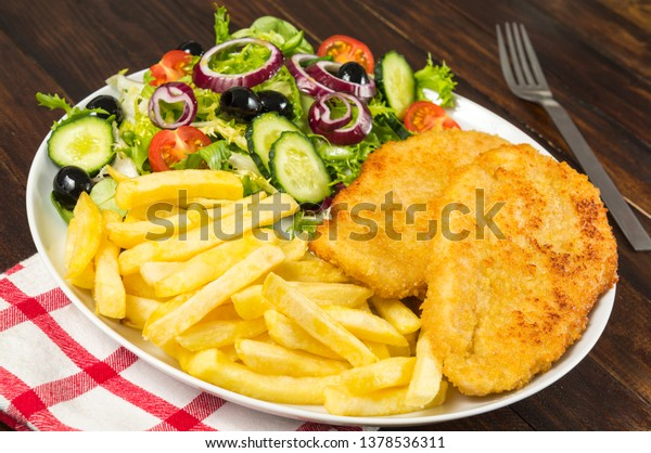 Chicken Schnitzel Chips Salad Stock Photo Edit Now 1378536311