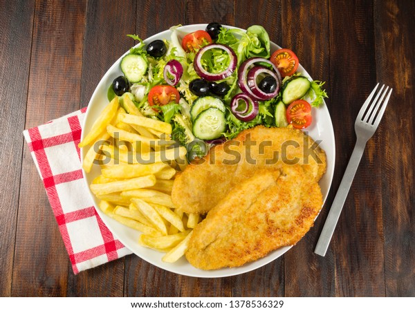 Chicken Schnitzel Chips Salad Stock Photo Edit Now 1378536329