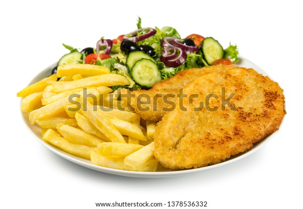 Chicken Schnitzel Chips Salad Stock Photo Edit Now 1378536332