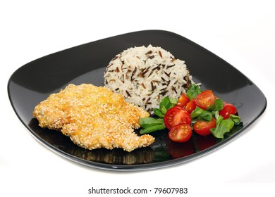 Chicken in sesame with saled and rice