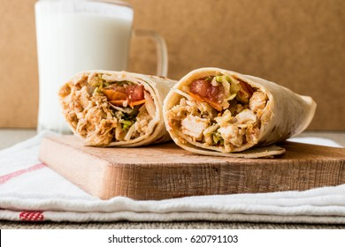 Chicken shawarma doner kebab with ayran or buttermilk.