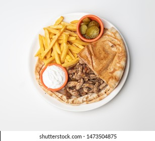 Chicken Shawarma Doner on a plate, Chicken Shawarma plate isolated on white background