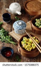 Chicken, shrimp and vegetables dimsum - Shutterstock ID 1575088375
