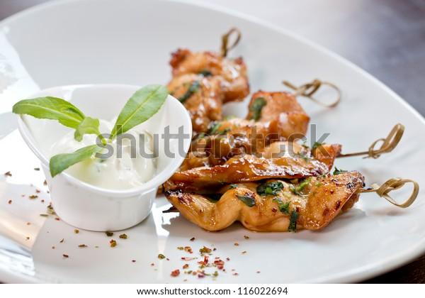 chicken skewers finger food