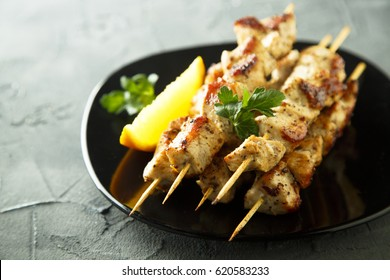 Chicken skewers with orange mustard