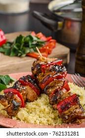 Chicken skewers say sauce, healthy food couscous