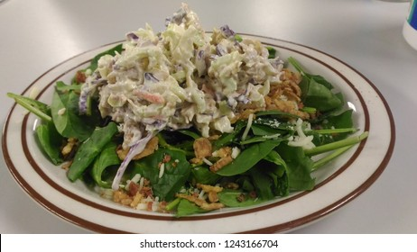 Chicken Slaw on Spinach Salad