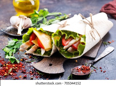 Chicken slices in a Tortilla Wrap