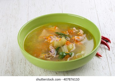Chicken soup with dill and carrots