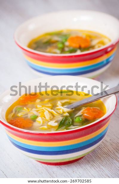 chicken soup with noodles and vegetables, spring chicken soup, chicken soup with vegetables for children, delicious chicken soup with noodles and vegetables.