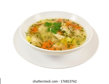 Chicken soup in white bowl isolated on white background.
