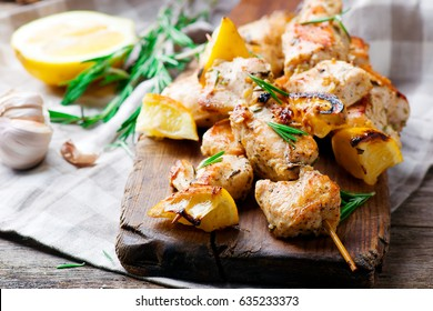 Chicken Souvlaki with lemon.style rustic.selective focus