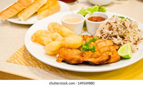 chicken steak and fried shrimp
