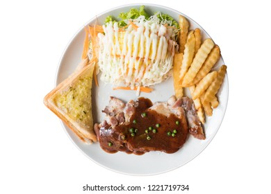 Chicken Steak with Gravy on white background