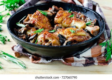 Chicken stew with mushrooms and tomatoes