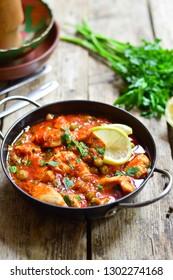 Chicken stew in a tomato