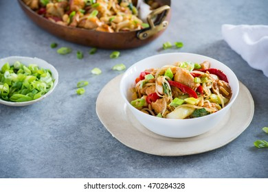 Chicken stir fry with bell peppers, bean sprouts and bok choy in a bowl. Chicken kung pao with vegetables, selective focus, horizontal