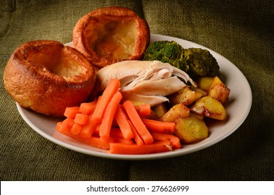 Chicken Sunday dinner with Yorkshire puddings