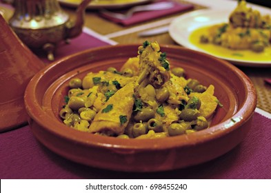 Chicken tagine with presserved lemon and green olives