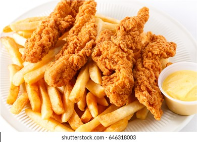 Chicken Tenders with French Fries and Dipping Sauce