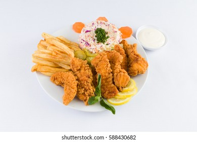 Chicken Tenders with Fries and salad