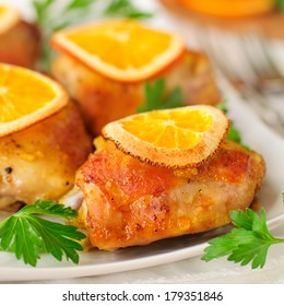 Chicken Thighs Roasted with Oranges Slices and Spices, square
