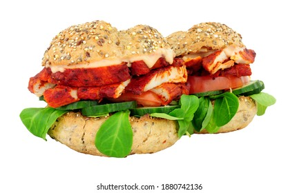 Chicken tikka meat and salad sandwich rolls isolated on a white background