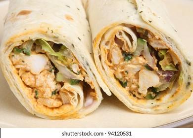 Chicken tikka wrap sandwich with yoghurt & mint dressing