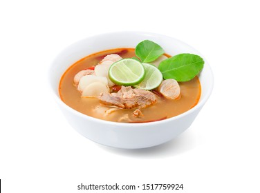Chicken Tom Yum Spicy, Hot and sour soup, Chicken soup isolated on white background with clipping path, Thailand food.
