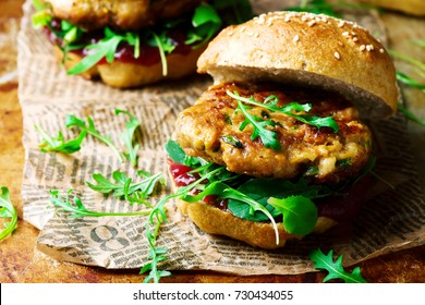 chicken, turkey cranberry burgers..style rustic .selective focus