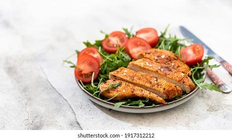 Chicken, turkey, fillet with salad. Healthy food diet concept. Keto diet. Healthy food.