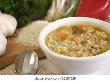 Chicken vegetable soup with wild rise