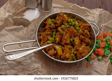 Chicken and vegetable stew on a table