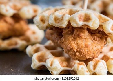 Chicken And Waffle Slider Close Up without syrup