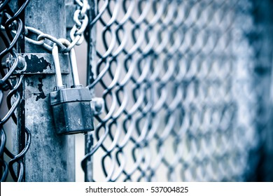 Chicken wire fence gate is locked with a chain and a padlock. Toned image.