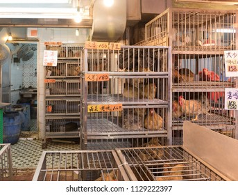 Chickens in Cages for Sale at Local Market in Hong Kong