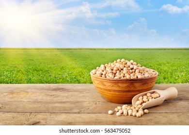 Chickpea in bowl on table with field of chickpeas on the background. Photo with copy space area for text