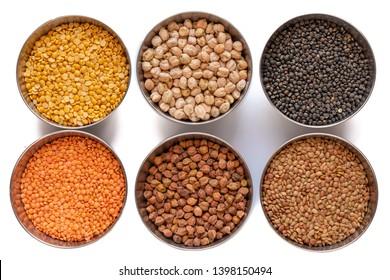 Chickpea (Channa), Red Lentil (Masoor dal), Split Chickpea (Split Channa), Black gram, Black lentil (Urad), Garbanzo Beans (Kabuli Channa), Horse Gram,  Gahat Dal (Kulath) in steel bowel isolated