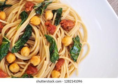 Chickpea and Chorizo Pasta