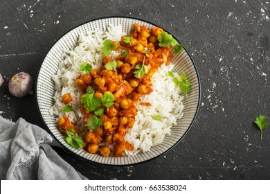 Chickpea curry with basmati rice. top view, horizontal