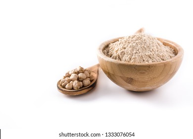chickpea flour in wooden bowl isolated on white background. Copyspace