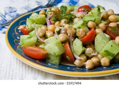 A Chickpea (Garbanzo Bean) Salad on a plate