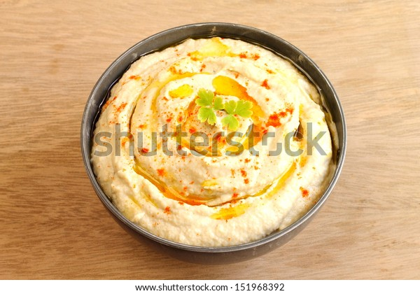Chickpea hummus with olive oil and paprika