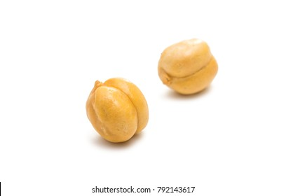 Chickpea isolated on white background. Macro shot.