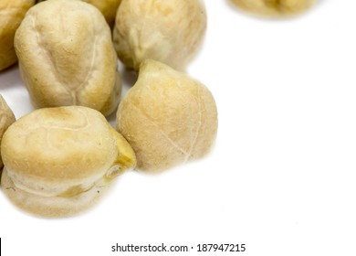 a lot of chickpea on white background